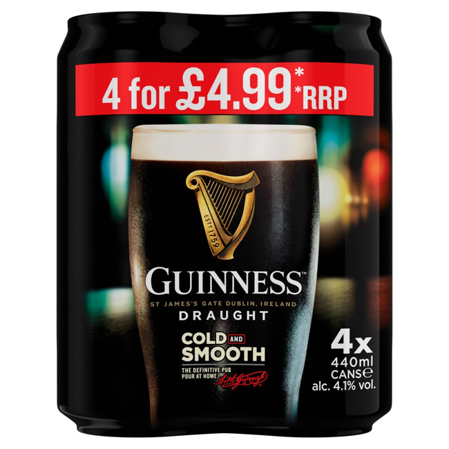 Guinness Draught Stout Beer 4 x 440ml